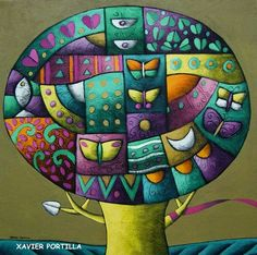 """XAVIER PORTILLA Guayaquil, Ecuador - 1965      """"Una paleta que derrocha arte, color y alegría""""  (1)         XAVIER PORTILLA       """"Nace en G... South American Art, Pen And Watercolor, Arte Popular, Nature Tree, Happy Art, Silk Painting, Whimsical Art, Tree Art, Quilt Patterns"""