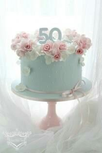 Pink Roses and Teal Cake