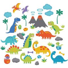 Dino Friends Peel & Stick Kids Room Wall Decal for Boys & Girls | Overstock.com Shopping - The Best Deals on Wall Decor