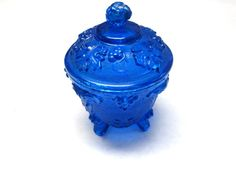 Blue Glass Candy Dish Trinket Bowl Footed Lid by sweetie2sweetie, $9.99