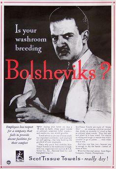 Is your washroom breeding Bolsheviks? (Click thru for more awesome anti-communist propaganda posters. Cold War Propaganda, Communist Propaganda, Propaganda Art, Retro Ads, Vintage Ads, Weird Vintage, Funny Vintage, Vintage Labels, Vintage Stuff