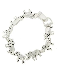 Silver tone elephant link bracelet with magnetic closure. Approx. 7 1/2""