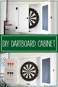 DIY Dartboard Cabinet -This DIY dartboard cabinet is the perfect gift  for anyone with a man cave or game room, perfect for a kids bedroom.  Stylish and functional, the dartboard cabinet keeps darts from hitting  the wall around the dartboard! Closed up looks great too! If you are needing Christmas gifts or a father's day gift, or even a Birthday gift this DIY dartboard cabinet will make someone on your list  very happy! #DIYgiftideas #handmadegifts #DIYChristmasgifts #DIYgames