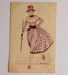 CPA. Xavier SAGER. Série N°12. Croquis de Printemps. Aquarellée. Robe Lilas Col. Sketch, Lilac Dress, Spring