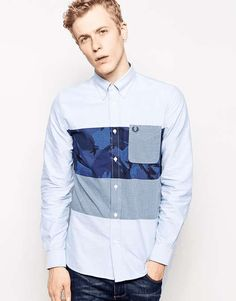Fred Perry | Shirt with Camo & Gingham Panel #fredperry #shirt