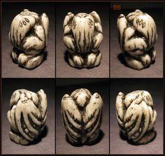Small Round Carved Bone Cthulhu - Resin Idol by CopperCentipede.deviantart.com…