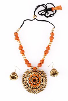 INR 1399 Round shape pendant with Orange terracotta bead necklace & earring  #Terracotta clay #Handcrafted