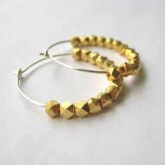 Faceted gold vermeil and sterling silver hoop earrings, $27 on Etsy
