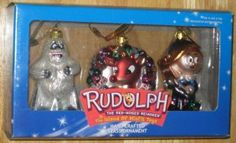 Rudolph the Red Nosed Reindeer & Island of Misfit Toys Glass Ornament Set Bumbles Hermey Brass Key $16