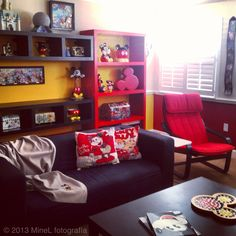 Like the colored furniture against colored wall, but not yellow!  Still deciding on wall colors.