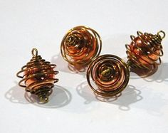 Vintage Raw Brass Cage with Acrylic Copper Bead Connector Cage, Wine Glass, Copper, Place Card Holders, Unique Jewelry, Beads, Handmade Gifts, Creative, Jewlery
