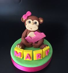 Baby Girl Monkey Cake Topper Fondant. 1st Birthday Monkey Cake