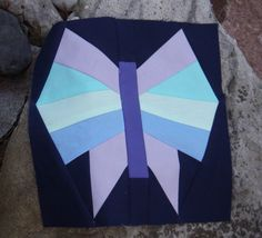 """Modern Butterfly 10"""" (finished) quilt block. Foundation paper pieced. Free pattern."""