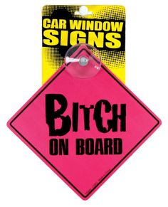 Window Sign Bitch on Board Funny Car Window Humor Clings to Any Smooth Surface  #Kalan #Novelty