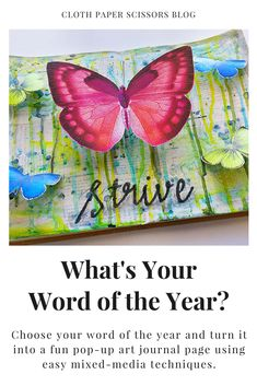 Choose your word of the year and turn it into a fun pop-up art journal page using easy mixed-media techniques.