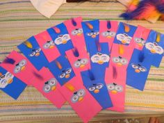 """After much searching to fit with my daughter's """"FURBY"""" themed birthday cake, I found there wasn't much to purchase here in Australia. No time to wait for things to come from the UK from Ebay either....so I set out to make party bags with a Furby resemblance. Yes they are a little dearer than ready made loot bags...but I am sure they will be a big hit with the kids!"""