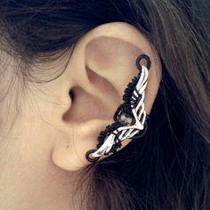 Eva Containment Ear Cuff no piercing black and silver by Jynxsbox