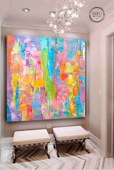 Extra Large Wall Art / Abstract Painting / Colorful Painting / Rainbow Painting / Large Canvas Art / Painting on Canvas Large Canvas Art, Large Painting, Oil Painting On Canvas, Large Canvas Paintings, Abstract Painting Ideas On Canvas, Painting Art, Watercolor Painting, Canvas Wall Art, Grand Art Mural