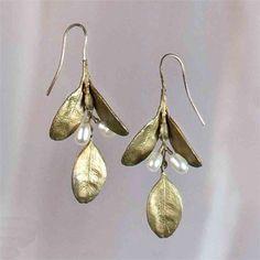 Michael Michaud Large Leaf Boxwood Earrings - Dangle | Michael Michaud Jewelry