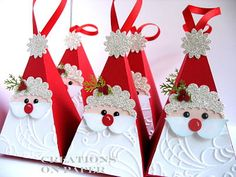 Creations on Paper: Petal Cone - Santa - These would make a great Christmas party favor! Christmas Favors, Christmas Paper Crafts, Stampin Up Christmas, Christmas Projects, All Things Christmas, Holiday Crafts, Christmas Holidays, Christmas Decorations, Christmas Ornaments