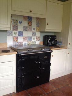 Wellbeck tiles hob splashback Hob Splashback, Kitchen Chimney, New Kitchen, Tiles, Kitchen Cabinets, Aga, Kitchens, House Ideas, Home Decor