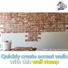 Take An Alternative Approach To Patters With Paint Wall Stamps If you're looking for other DIY accent wall ideas, try these stamps. The name should be enough to explain the process – you cover the reusab Fake Brick Wall, Brick Accent Walls, Paint Brick, Paint Walls, Faux Brick Wall Panels, Brick Veneer Wall, Brick Wall Paneling, Faux Stone Walls, Painted Brick Walls