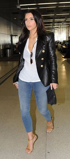 White top, black leather jacket, skinny jeans, nude lace up heels, black clutch, sunglasses, gold necklace