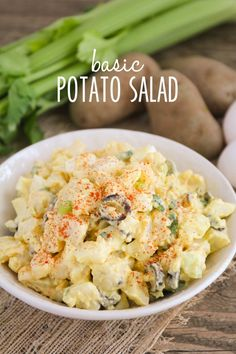 This delicious basic potato salad is easy to prepare and always a favorite! I know late February is an odd time to be posting a potato salad recipe, but there are a few reasons I& posting it now. Best Side Dishes, Side Dish Recipes, Basic Potato Salad Recipe, Broccoli, Asparagus, Bbq Menu, Summer Recipes, Summer Desserts, Simple Recipes