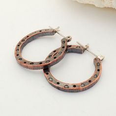 Hammered Copper Earrings  Hoop Earrings  Mixed by MosaicSmith