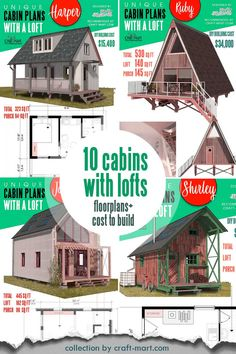 Do you think that tiny living is for you? Dreaming of simplifying your life? Tired of paying rent? Check out this collection of floorplans to build a small DIY cabin of your dreams - with lofts! Stop paying your landlord and start living your dream life! With total building costs ranging from $16,400 - to $55,500 you can make your dream a reality. #tinycabin #smallcabin #cabinfloorplan