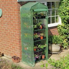 Gardman 5-Tier Mini Greenhouse - $48.98 @hayneedle.com.com.com 23 reviewers - rated 4.4/5 Sturdy tubular steel frame and shelves-Removable canopy made of green PVC plastic-Full-length, roll-up zippered access-5 shelves for seed trays, tools, pots, and more-Lightweight and easy to assemble-Dimensions: 27L x 18W x 79H inches
