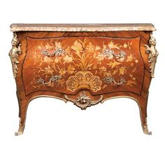 Louis XV Style Gilt-Metal Mounted Marquetry Inlaid Mahogany, Walnut, Satinwood and Tulipwood Commode -  20th Century