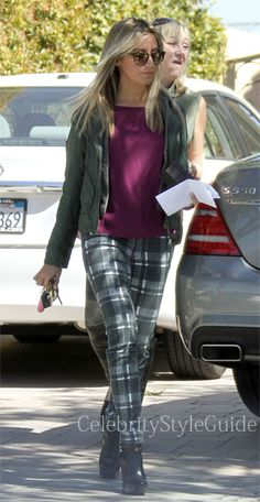 Seen on Celebrity Style Guide: Ashley Tisdale wore the Alice + Olivia Textured Plaid Skinny Jeans Get The Here: http://rstyle.me/n/cuns8mxbn