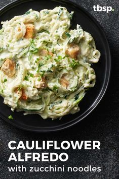 Cauliflower Alfredo with Zucchini Noodles This veggie twist on the classic Italian pasta dish makes an Alfredo sauce out of cauliflower and uses zucchini noodles instead of pasta. Veggie Recipes, Whole Food Recipes, Diet Recipes, Vegetarian Recipes, Cooking Recipes, Cauliflower Recipes, Healthy Recipes, Riced Cauliflower, Vegetarian Soup