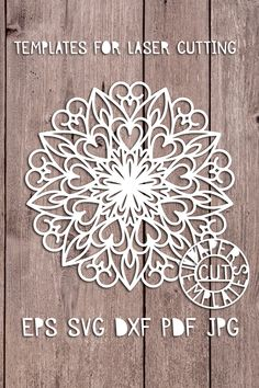 Stencil mandala for cutting from a variety of materials. Pattern for DIY. Heart Quilt Pattern, Paper Cutting Patterns, Paper Art, Paper Crafts, Paper Snowflakes, Cricut Tutorials, Border Design, Geometric Designs, Mandala Design