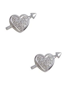 Candela 14K White Gold Pave Diamond Heart & Arrow Stud Earrings - 0.16 ctw by Non Specific on @HauteLook