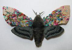 Etsy の Fabric sculpture   Hawk Moth fiber art by YumiOkita