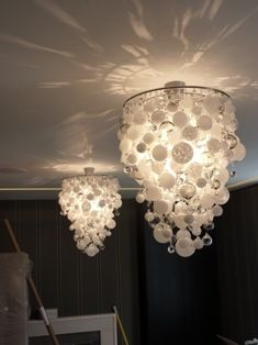 Venise lace faux chandelier pendant lamp shade ivory pinterest this would be gorgeous for a winter wedding too greentooth Images