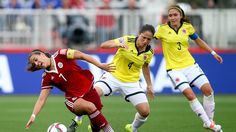 Nayeli Rangel of Mexico is challenged by Diana Ospina of Colombia