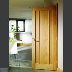 OAK WORCESTER FIRE DOOR: A contemporary three vertical flat panel design with an attractive grain in the timber. A diy room decor. A must in your bucket list. For more detail, you can call our executive on 01422 387331 - Home Decor Oak Glazed Internal Doors, Contemporary Internal Doors, Contemporary Interior, Traditional Interior, Fire Rated Doors, Fire Doors, Discount Interior Doors, Solid Oak Doors, External Doors