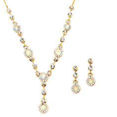 Bridesmaids Jewelry Set Aqua Teal Rhinestone Necklace Wedding