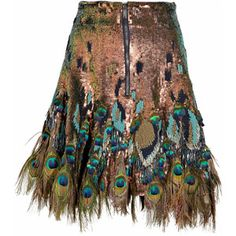 Matthew Williamson peacock feather skirt - not sure how I feel about it as a whole, but love the how the blue and green pop against the bronze.