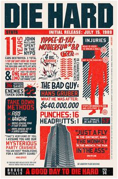 The Ultimate Die Hard infographic! Everything you wanna know about the original DIE HARD! Die Hard 1988, Die Hard Christmas, Christmas Ideas, Hard Movie, Non Plus Ultra, Plakat Design, I Love Cinema, Alternative Movie Posters, Information Graphics