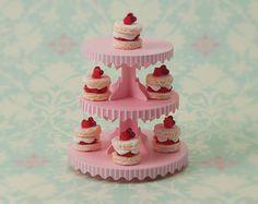 Miniature Dessert Tower Kit Pink Stripe by true2scale on Etsy