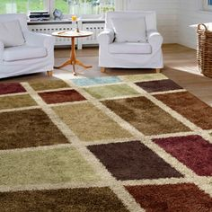 "Orian Skippy Shag Area Rug, Multi-Color, 5'3"" x 7'6"""