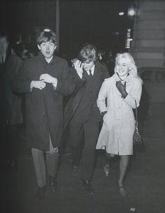 Paul McCartney with John and Cynthia Lennon 1964.