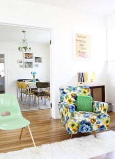 Lovely yellow and blue living space! (At Home with Katie Shelton on A Beautiful Mess)