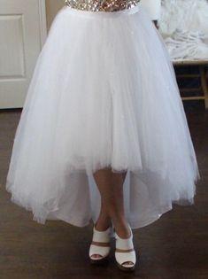 Clear beaded hilo ballgown skirt / high low skirt / ballgown tulle skirt / modern bridal tulle skirt / wedding skirt / removable skirt / $349.00