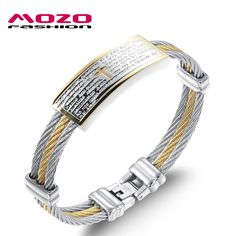 MOZO FASHION Men Jewelry Silver & Gold 316L Stainless Steel Bible Cross Bangles Hand Wristband Bracelet Male Accessories MGH759