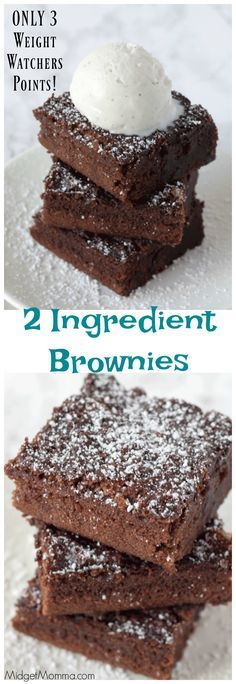 These simple 2 ingredient brownies are ONLY 3 points each on Weight Watchers! You can totally have dessert and eat great when on Weight Watchers and these soft, chocolaty and moist brownies are always a hit in our house! #brownies #brownie #Dessert #WeightWatchers #WeightWatchersRecipe